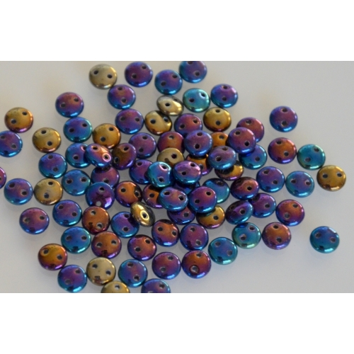 Lentil Iris-Blue, 6mm, 40pcs.