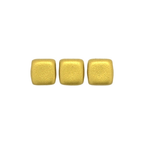 Tile bead 6mm, Matte Metallic Aztec Gold, 40pcs.