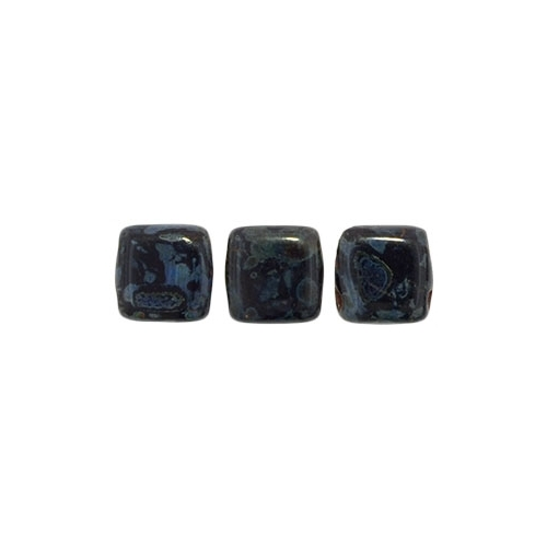 Tile bead 6mm, Picasso - Jet, 40pcs.