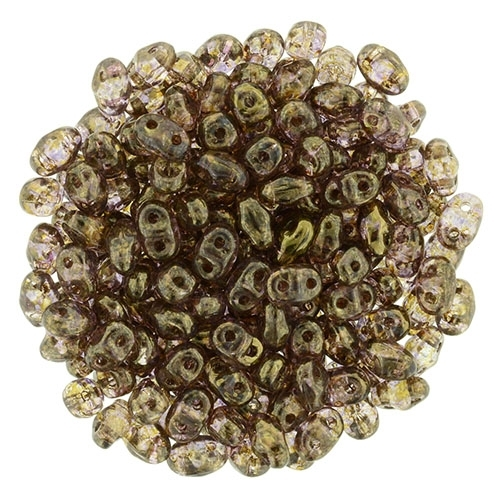 Superduo 2.5x5mm Luster - Transparent Gold/Smokey Topaz 10g.