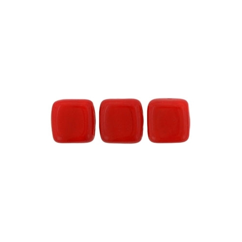Tile bead 6mm, Opaque Red, 40pcs.