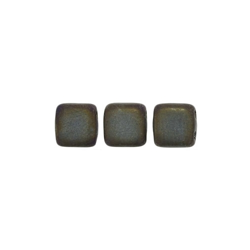 Tile bead 6mm, Matte - Iris - Brown, 40pcs.