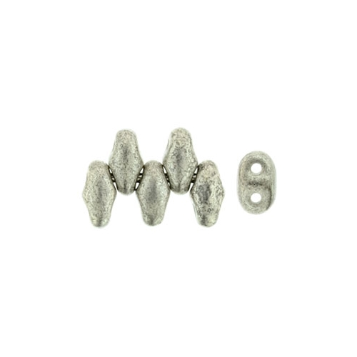 SuperDuo (2.5x5 mm) Silver Luster - Jet 10g.