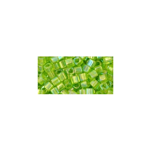 TOHO Cube Transparent Rainbow Lime Green 3mm 10g.